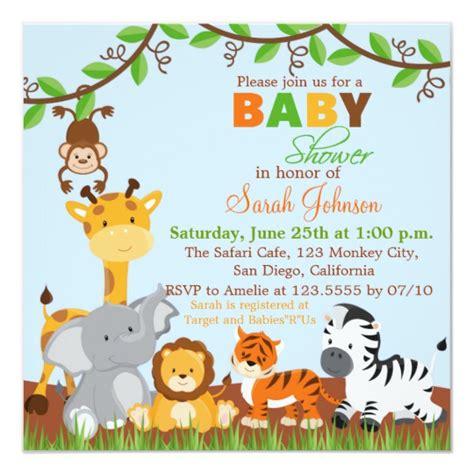 Cute Safari Jungle Animals Baby Shower Invitation Zazzle Com Jungle Animal Invitation Templates