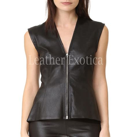 faux leather peplum top  women leatherexotica