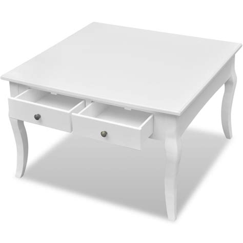 Square Coffee Tables With Drawers Mdf Wood Square Coffee Table W 4 Drawers In White Buy Coffee Tables