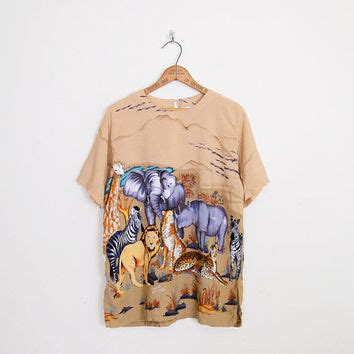 Beige Oversize Print Top 31092 beige safari shirt safari blouse safari from trashy vintage