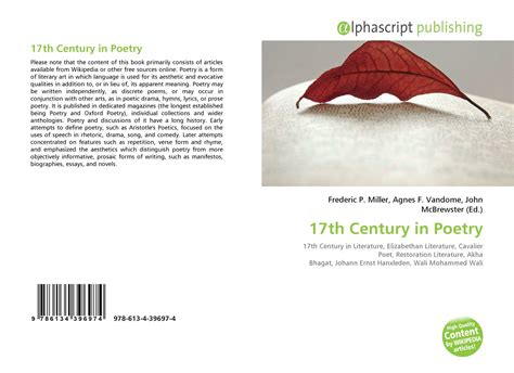 themes of 17th century english poetry 17th century in poetry 978 613 4 39697 4 6134396974