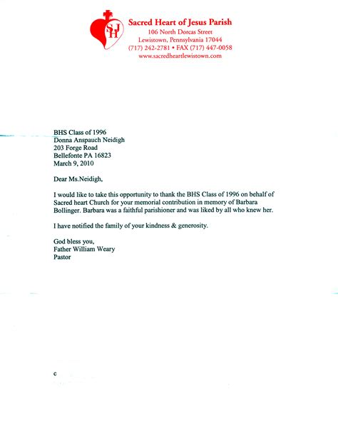 Acknowledgement Letter Donation In Memory News 2010