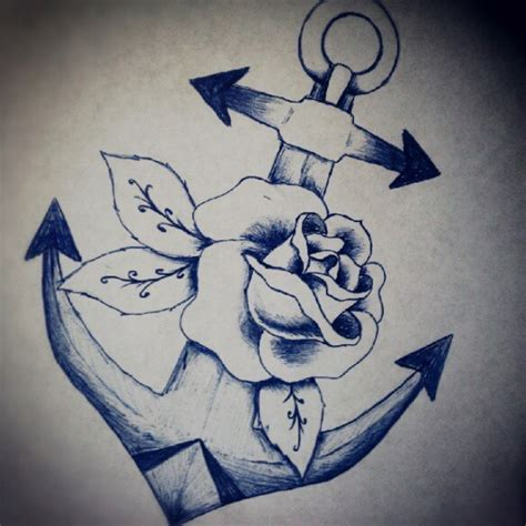 anchor with roses tattoo anchor and drawing ideas