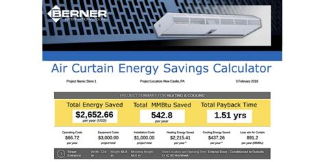 air curtain calculation berner introduces online energy savings calculator for air