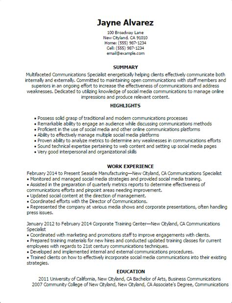 Marketing Communications Specialist Sle Resume by Communications Resume Help 28 Images Professional Satellite Communications Operator