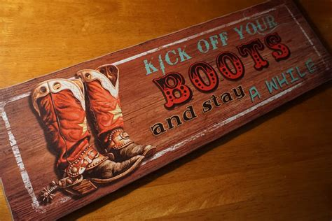 country western home decor large kick your boots rodeo cowboy country western home decor sign new ebay
