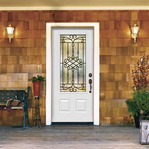 Interior Superb Decorating Ideas Using Green Iron Bench Home Depot Entry Doors With Glass