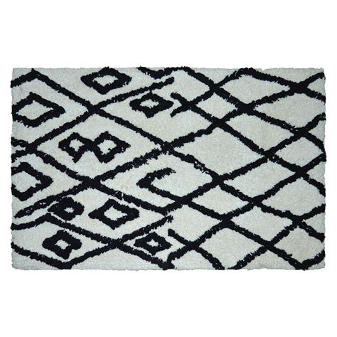 black accent rug threshold black white cotton tufted accent rug 2x3