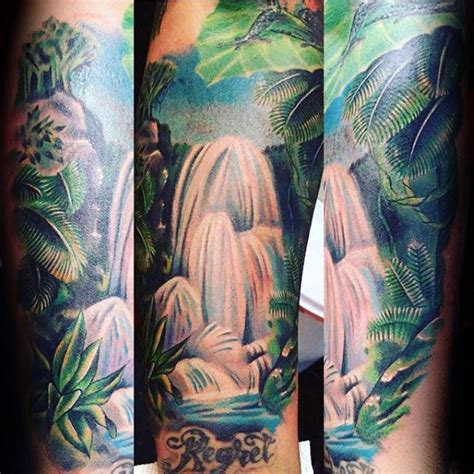 rainforest tattoo 70 waterfall designs for glistening ink ideas