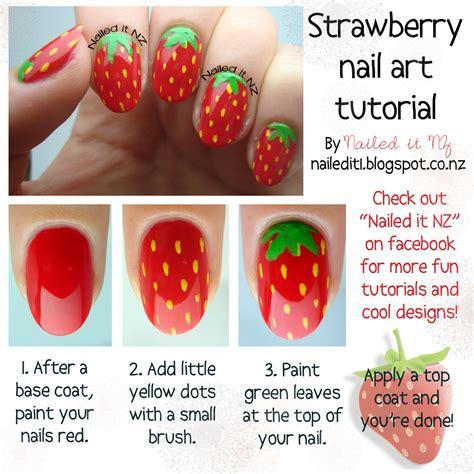 tutorial nail art strawberry take two day 30 food theme strawberry nails tutorial