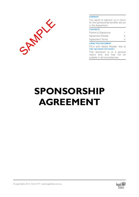 Website Sponsorship Agreement Template
