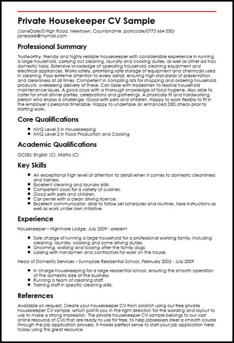 Resume Uk Housekeeper Cv Sle Myperfectcv