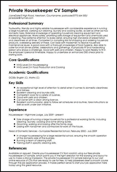 Private Housekeeper CV Sample   MyperfectCV