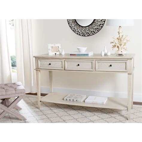 home depot console table safavieh manelin white washed storage console table