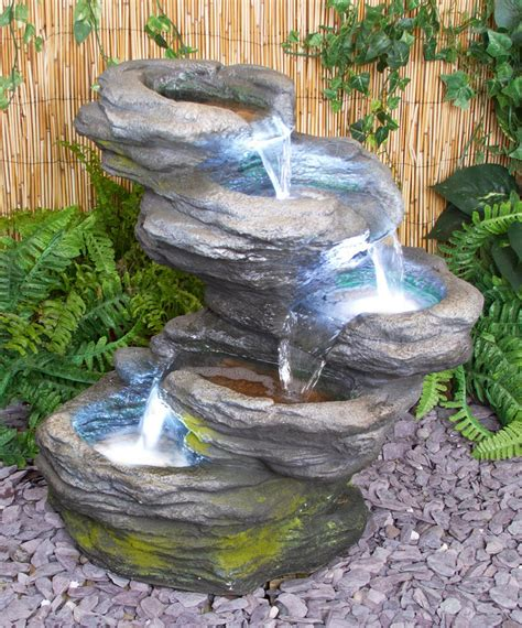 Outdoor Water Features With Lights 5 Step Rock Effect Cascading Water Feature White Lights Pool Indoor Garden Ebay