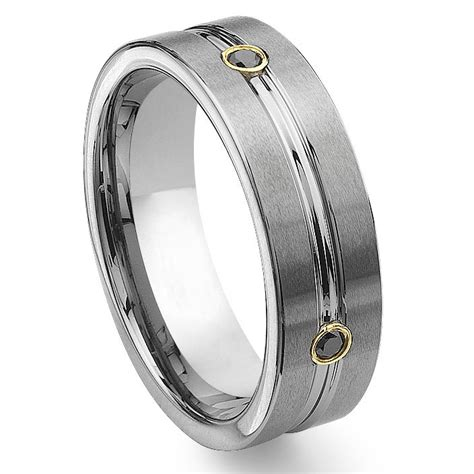 tungsten carbide gold eternity black wedding band ring
