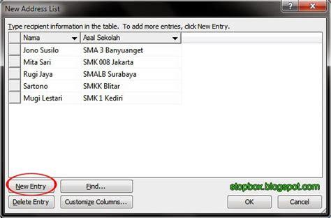 untuk membuat mail merge perintahnya terdapat pada menu langkah langkah membuat mail merge pada ms word catatan