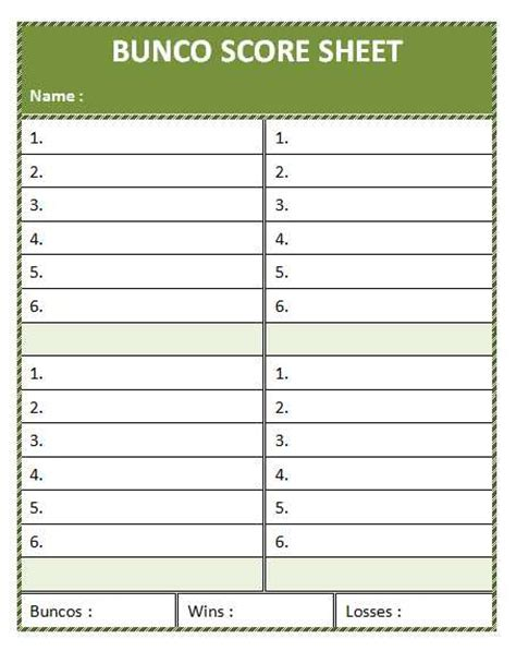 free bunco scorecard template bunco score sheet template