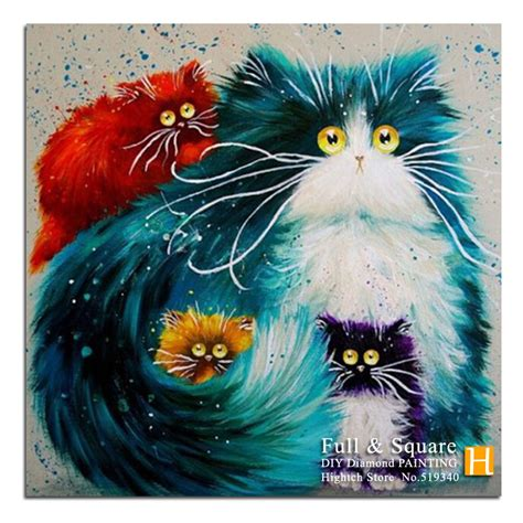 colorful cats cross stitch painting colorful cat gift for