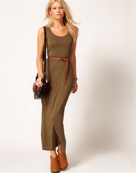 Lyst   Asos Collection Maxi Dress with Belt in Natural