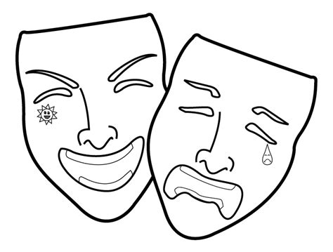Theatre Mask Outline by Happy And Sad Masks Cliparts Co