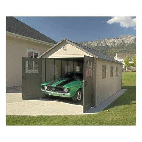 lifetime 11x11 ft storage shed kit with tri fold doors 6417