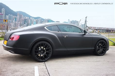 bentley blacked bentley continental gt in matte black rides on pur wheels