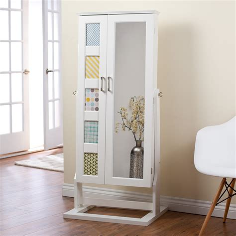 White Mirror Jewelry Armoire by Belham Living Photo Frames Jewelry Armoire Cheval Mirror High Gloss White At Hayneedle