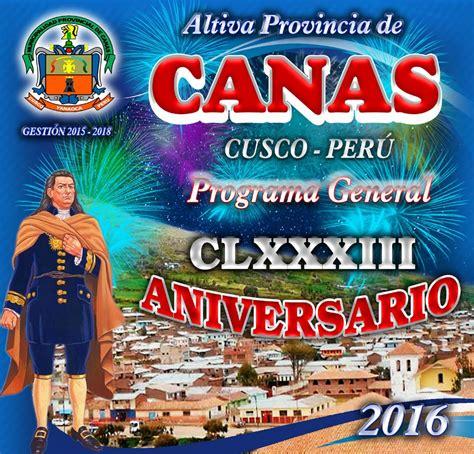 ugel canas programa general de festejos de la provincia de canas 2016
