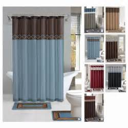Shower Curtain Bathroom Set Contemporary Bath Shower Curtain 15 Pcs Modern Bathroom Rug Mat Contour Hook Set Ebay
