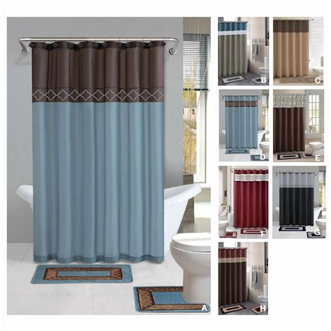 Designer Bathroom Sets with Contemporary Bath Shower Curtain 15 Pcs Modern Bathroom Rug Mat Contour Hook Set Ebay