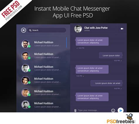 mobile messenger app instant mobile chat messenger app ui free psd