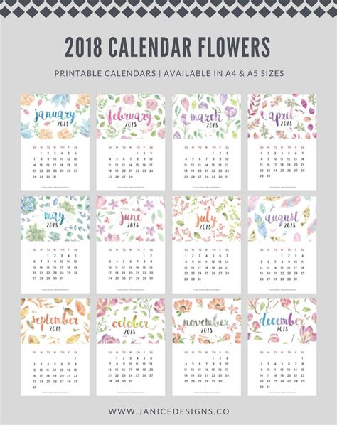 printable calendar review 2018 calendar flowers a5 binder clipboard wire binding