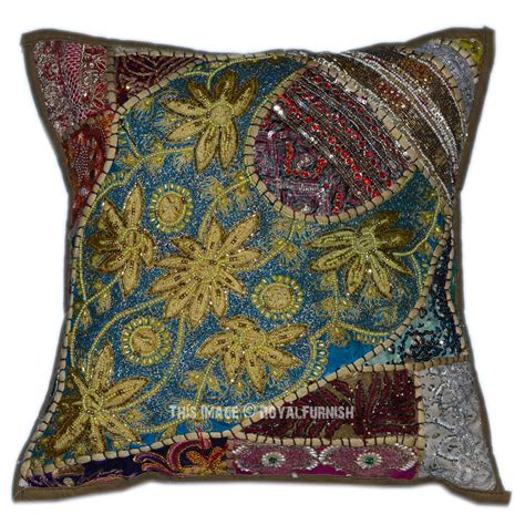 beaded throw pillows 40 quot x 40 quot green decorative designer patchwork indian beaded