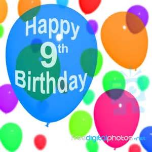 Happy Birthday Wishes For A 9 Year Boy Balloons With Happy 9th Birthday Stock Image Royalty