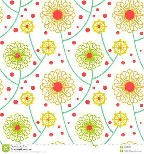 20973 Bold Retro Pattern S M L simple floral pattern with bold flowers stock vector