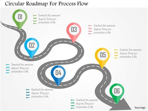 road map process circular roadmap for process flow flat powerpoint design