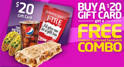Where Can I Buy Taco Bell Gift Cards - taco bell buy 20 gift card get free chicken flatbread sandwich combo happy money
