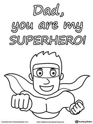 Superhero Dad Coloring Page | father s day card you are my superhero father s day