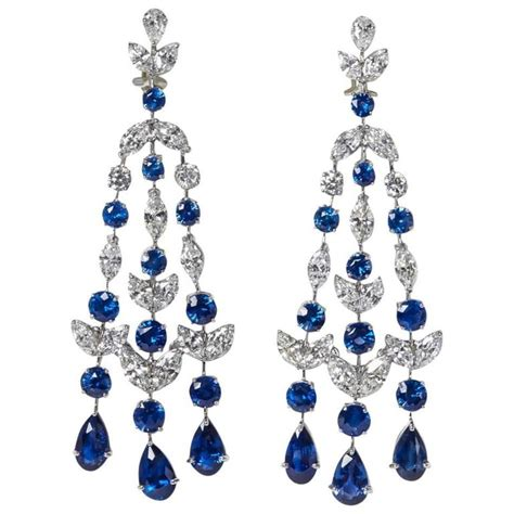 Sapphire Diamond Platinum Chandelier Earrings For Sale At Sapphire Chandelier Earrings