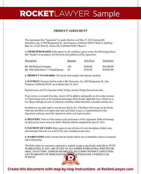 product agreement template product agreement product contract form with sle