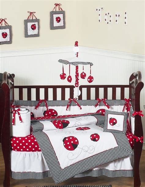 pink ladybug crib bedding white ladybug polka dot baby bedding and 9pc set by