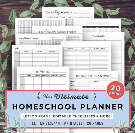 homeschool lesson planner pdf homeschool planner printable school planner mom teacher