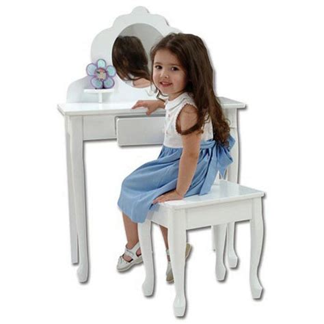 Toscano Home Decor kids vanity set white girls table stool mirror bedroom