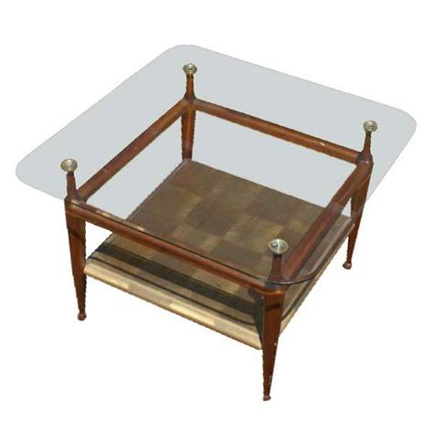 23 quot vintage wood glass two tier coffee table mr7856 ebay