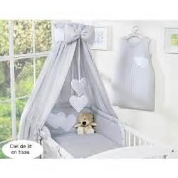 ciel de lit b 233 b 233 en tissu gris 224 coeurs achat vente