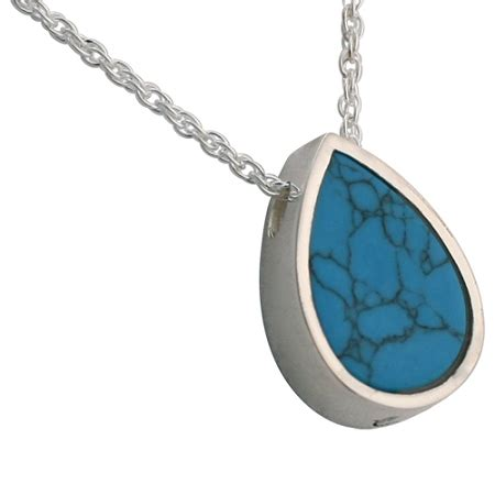 turquoise teardrop slider pendant and necklace for ashes