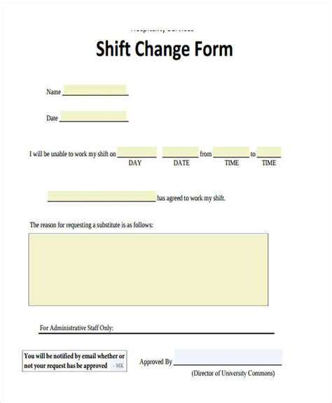 Change Shift by Sle Change Forms