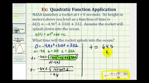 ex quadratic function application using formulas rocket