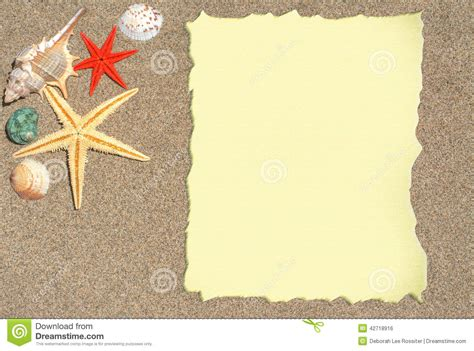 Starfish And Shells With Blank Paper For A List Menu Or